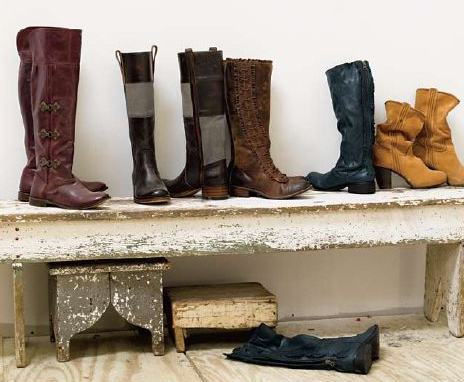 Add an old-fashioned bench to your entryway for easy on-and-off of Fall footwear. Stack smaller benches beneath the main seating area. They'll come in handy for lacing up boots or little ones who need to reach the floor more easily. Check your flea market or antique shop for something similar.