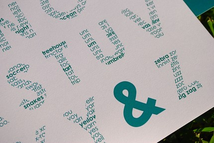 I love the way each letter in theTypography Alphabet and Numbers Poster Set ($15) is embedded with words beginning with that letter!