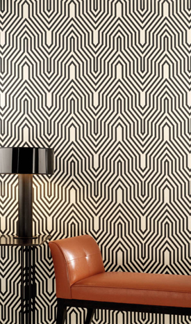 Osborne & Little's Minaret has an all-over striped pattern in a tower shape that is psychedelically sophisticated.