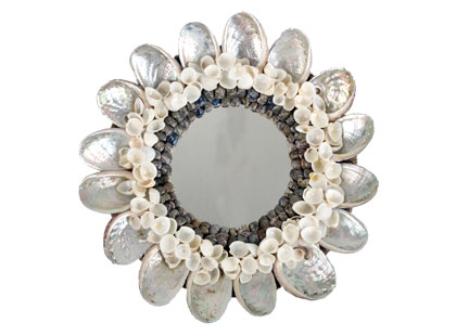 Add some shiny shells into your home with the Jayson Home & Garden Abalone Shell Mirror ($30).