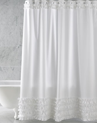 Give your bathroom some white ruffled embellishment with the Anna Gish Ruffled Shower Curtain ($212).