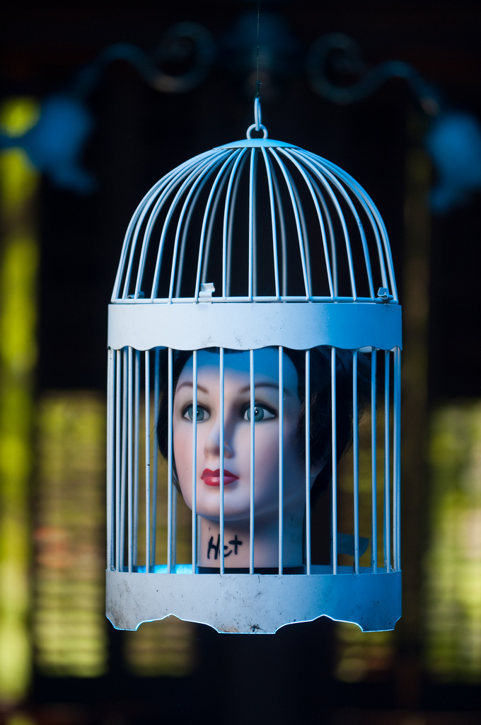 A birdcage is a great place to display sculptures and other decorative objects — not necessarily just disembodied doll heads! Source: Flickr User sethrt