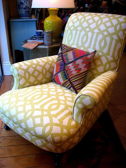 She used the Imperial Trellis fabric by Kelly Wearstler in a mustard hue. Totally sophisticated and cozy looking!