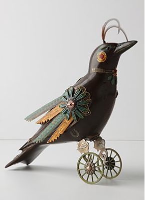 Poe's raven goes steampunk with this Gladiator Raven ($648). It's crafted from antique decoys and is a spooky, odd little accent for your home.