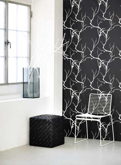 Create an instant accent wall with Ferm's Branch Wallpaper ($115 per roll).