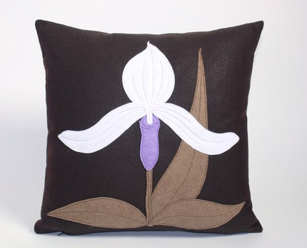 This Lady Slipper Orchid Pillow ($69) is adorned with a lovely, fresh phalaenopsis recycled felt applique with a modern aesthetic.