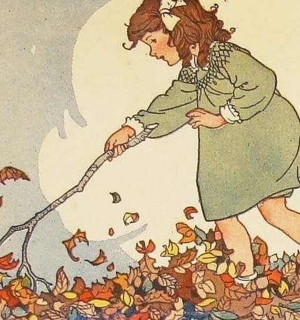 Playing in the Leaves ($14.50 for four cards) are reproductions from vintage children's illustrations. So adorable!