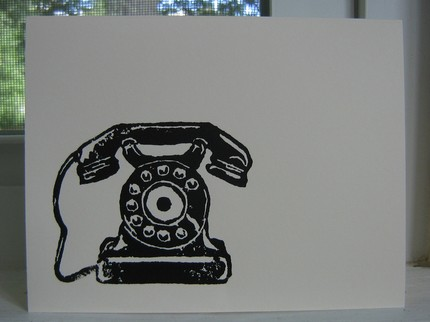 If you only have a cell phone, fake the look with this Rotary Telephone Block Print Card ($4).
