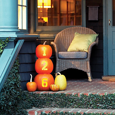 Is your house number hard to read? Solve that issue, at least for the Halloween season, with these house number pumpkins from Sunset.