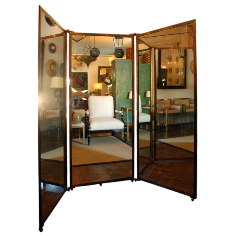 While it's a definite splurge, what girl wouldn't love adding this Mirrored Bronze Metal Floor Screen ($3000) to her room? It's from the '30s, and I am swooning over it!