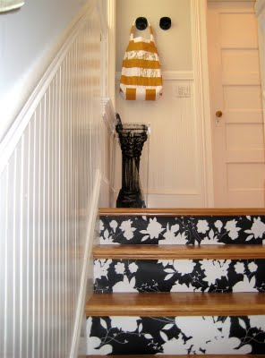 Wallpaper is a great alternative for adding pattern to staircases. Learn how to create this effect with ferm living.