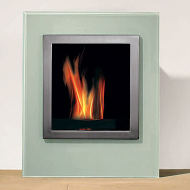 The Plaza Fireplace ($3,350) is a free-standing fireplace, which can also be mounted to the wall. It requires no ventilation or installation and uses smokeless, odorless gel that burns for about two hours.
