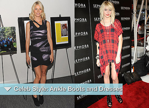 Photos of Celebrities in Ankle Boots With Dresses