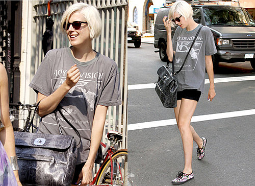 Photos of Agyness Deyn in New York, Copy Her Style, Band T-shirt