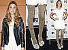 Photos of Whitney Port in London in Gold Tights and White Dress