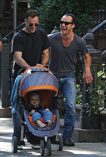 Jonny Lee Miller,his son and Jude Law out and about in New York