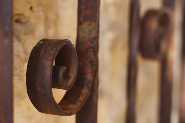 Swirls on an iron gate, Mission San Jose