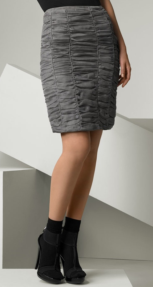 Burberry Prorsum Ruched Silk Gauze Pencil Skirt