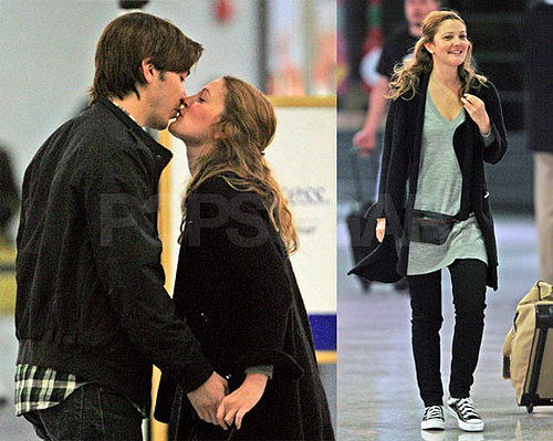 Drew Barrymore and Justin Long Kiss at New Orleans Airport