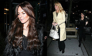 Lindsay Lohan, Dina Lohan, and Ali Lohan at the Spotted Pig in NYC