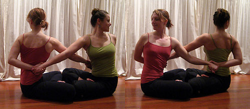 Partner Yoga Pose: Seated Facing Twist