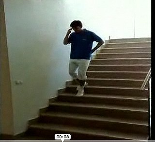 Guy Glides Down the Stairs