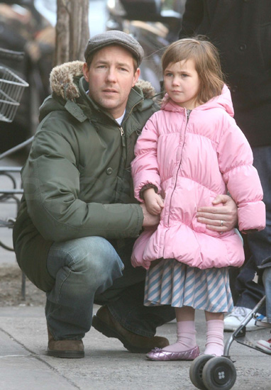 Ed Burns and daughter Grace bundled up in NYC.
