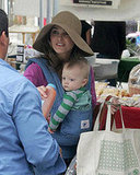 Keri Russell and her son River Deary at the Farmer's Market.