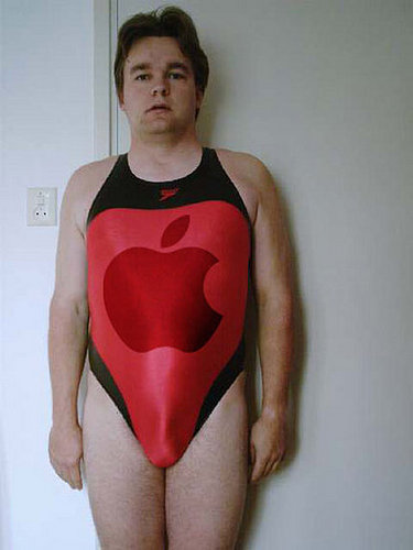 Dude in Apple Swimsuit