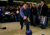 This weekend Mike Huckabee bowled in a game against the media — a creative campaign event in Wisconsin.