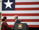 Liberia's President Ellen Johnson-Sirleaf greets Bush on February 21, 2008.