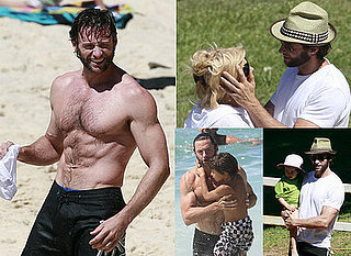 Topless Hugh Jackman with Six Pack and Family Play on the Beach in Sydney