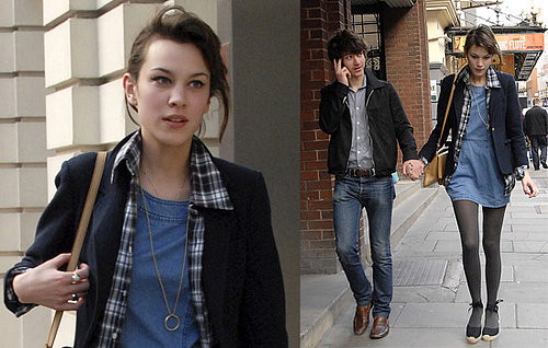 Alexa Chung And Alex Turner Out In London, Alexa's Wearing The Same Outfit From The Night Before