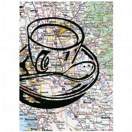 One More Cup of Coffee For the Road — signed original linocut on atlas