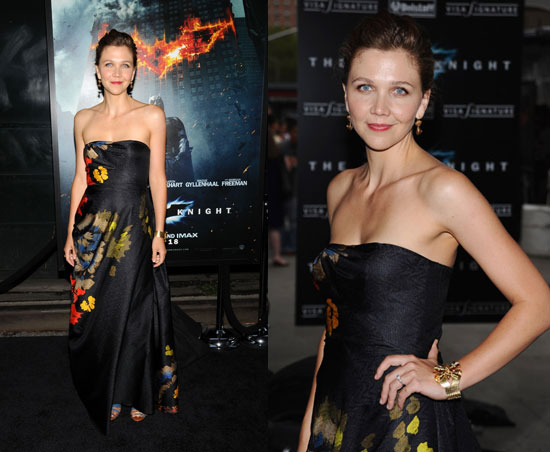 Maggie Gyllenhall in Dries Van Noten at The Dark Knight Premiere