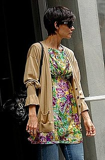 Katie Holmes in New York Wearing a Missoni Floral Tunic, Bell Sleeve Cardigan and Chloe Bag