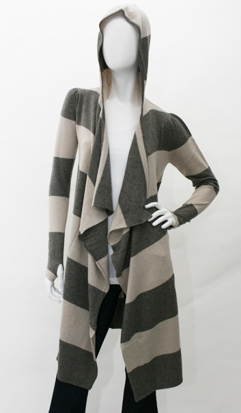 Jamison Rollins Stripe Wrap Hooded Sweater in Pepper