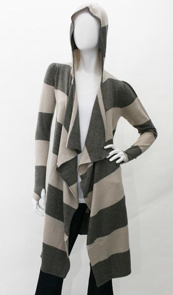 Jamison Rollins Stripe Wrap Hooded Sweater in Pepper