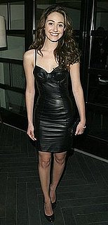 Emmy Rossum in a Black Leather Bustier Dress by Los Angeles-Based Fashion Designer, Ina Soltani