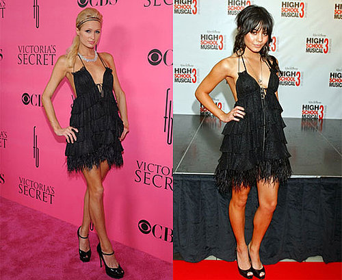 Paris Hilton and Vanessa Hudgens in Jenny Packham Dress