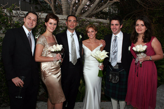 The wedding party: groomsman, bestman in kilt and bridemaids.