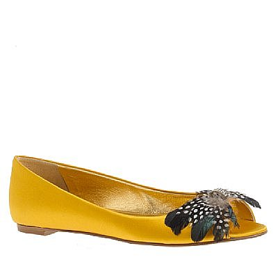 Babette jeweled-feather peep-toe flats