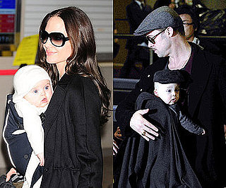 Photos of Brad Pitt and Angelina Jolie with the twins Knox and Vivienne at Tokyo's Narita Airport