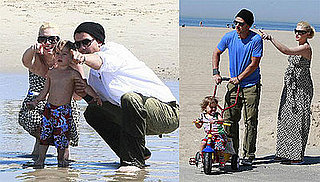Gwen Stefani, Gavin Rossdale, and Kingston Rossdale At The Beach
