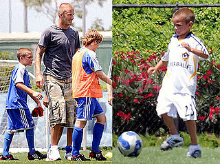 Photos of David Beckham Playing Soccer With Brooklyn and Romeo in LA