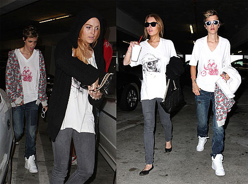 Photos of Lindsay Lohan and Samantha Ronson Going to Dinner and Tropic Thunder in Hollywood