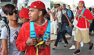 Photos of Rihanna and Chris Brown at the Barbados Airport