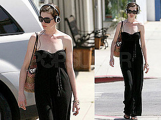 Photos of Anne Hathaway Wearing Headphones in LA