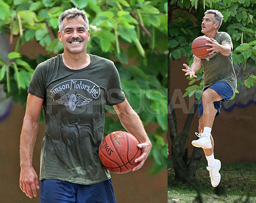 Photos of George Clooney Sweaty and With a Mustache on the Set of Men Who Stare at Goats