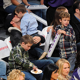 David Beckham, Romeo Beckham, Brooklyn Beckham, Cruz Beckham at the Lakers Game